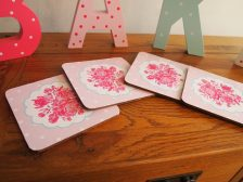 Coasters with Pink / Blue Spots & Floral Design (Set of 4)