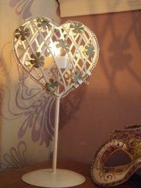 Small Heart Shaped Tea light Holder on Stand with Flowers