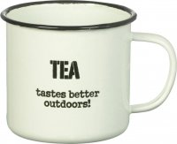 White Enamel Mug by Parlane (Tea Tastes better Outdoors)
