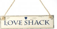 Blue & White Wooden Driftwood Sign with Worn Effect by Parlane (Love Shack)