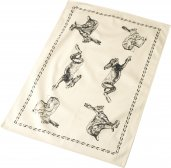 Cream & Black Rectangular Tea Towel with Hare Design by Parlane (Large Hare Design)