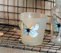 Set of 2 Glass Tealight Holders with Butterfly & Dragonfly Design by Parlane