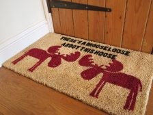 'There's a Moose Loose aboot this Hoose' Red & Tan Doormat by Parlane